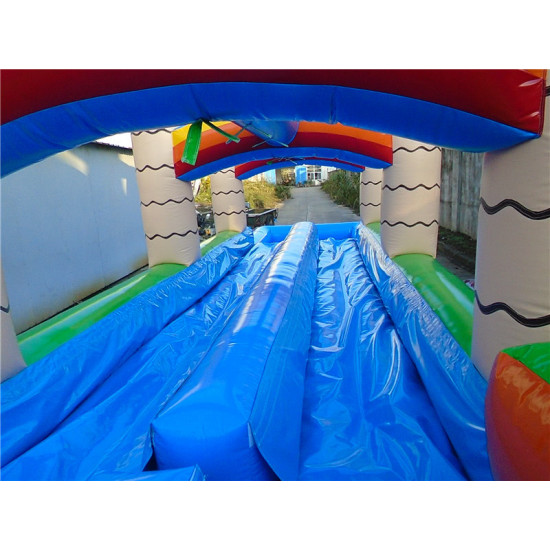 Inflatable Dual Lane Tropical Water Slide